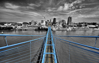 Roebling Bridge Photograph - South Tower - Selective Color by Russell Todd