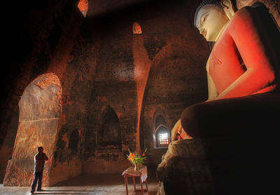 Candle Stand Photograph - Southeast Asian Man Praying  by Anek Suwannaphoom