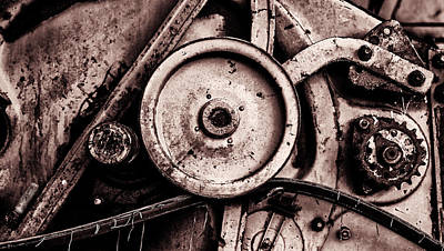 Soviet Ussr Combine Harvester Abstract Cogs In Monochrome Art Print by John Williams