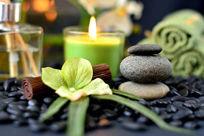 Photograph - Spa Rocks And Candles by Serena King