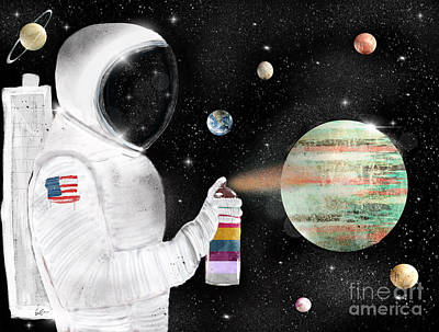 Outer Space Painting - Space Graffiti by Bri B