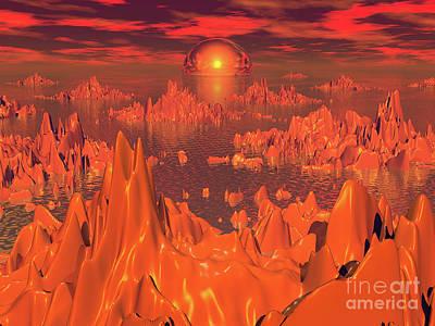 Fractal Other Worlds Digital Art - Space Islands Of Orange by Phil Perkins