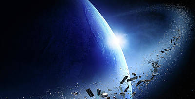 Globe Photograph - Space Junk Orbiting Earth by Johan Swanepoel