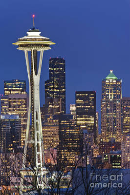 Seattle Skyline Photograph - Space Needle And Downtown Seattle Skyline by Rob Tilley