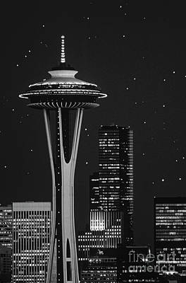 Global Design Shibori Inspired - Retro Image of Space Needle and Star Lights by Jim Corwin
