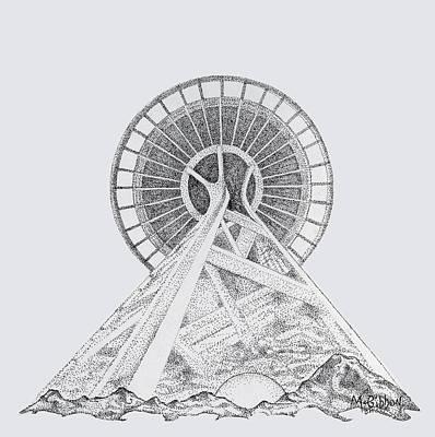 Digital Art - Space Needle- Looking Up by Dan McGibbon