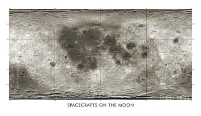 Apollo 15 Photograph - Spacecraft On The Moon, Lunar Map by Detlev van Ravenswaay