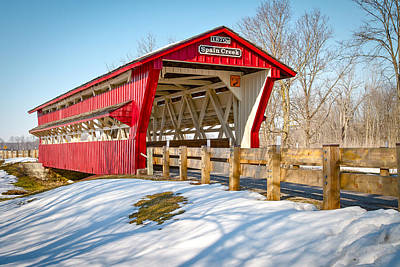 Music Royalty-Free and Rights-Managed Images - Spain Creek Covered Bridge by Jack R Perry