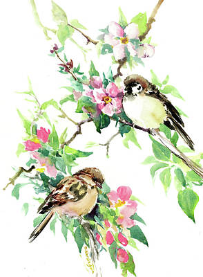 Painting - Sparrows And Apple Blossom by Suren Nersisyan