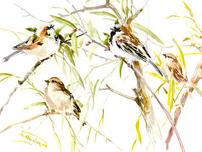 Sparrow Drawing - Sparrows by Suren Nersisyan