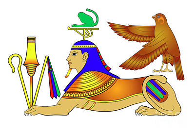 Egypt Mixed Media - Sphinx - Mythical Creatures Of Ancient Egypt by Michal Boubin