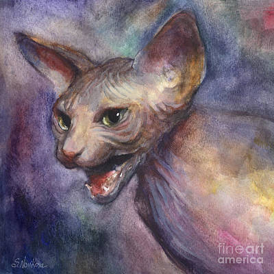 Sphynx Cat Painting Art Print