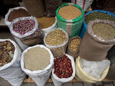 Spices And Lentils For Sale In Souk Art Print