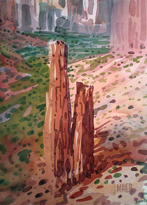 Navajo Painting - Spider Rock by Donald Maier