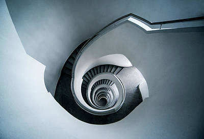 Art Print featuring the photograph Spiral Staircase In Blue Tones by Jaroslaw Blaminsky