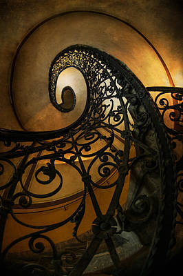 Mystery Door Photograph - Spiral Staircase With Ornamented Handrail by Jaroslaw Blaminsky