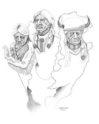 Native American Drawing - Spirit Guides by Hugh Blanding
