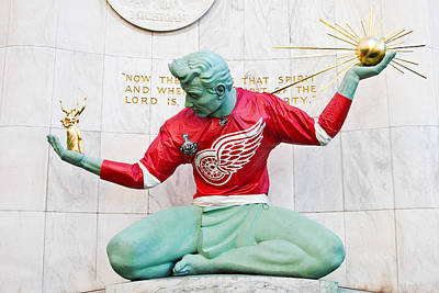2009 Photograph - Spirit Of Detroit In Red Wing Jersey by James Marvin Phelps