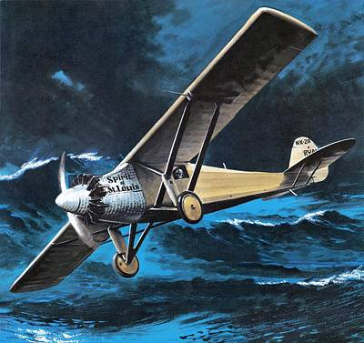 Aviator Painting - Spirit Of St Louis by Wilf Hardy