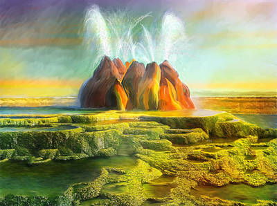 Spitting-fly Geyser In Nevada Art Print by Angela A Stanton
