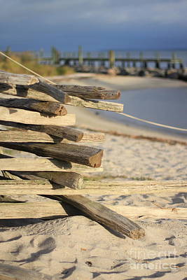 Photograph - Split Rail Fence Yorktown Beach by Karen Jorstad