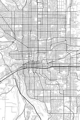 City Digital Art - Spokane Washington Usa Light Map by Jurq Studio