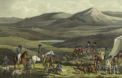 Scottish Dog Drawing - Sporting Meeting In The Highlands by Henry Thomas Alken