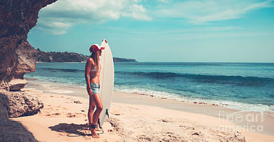 Photograph - Sportive Woman With Surfboard by Anna Om