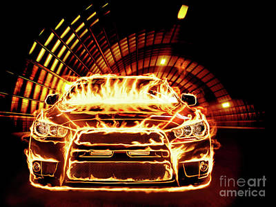Sports Car In Flames Art Print