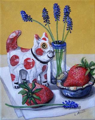 Painting - Spotted Cat With Strawberries by Laura Aceto