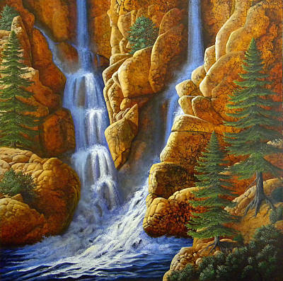 Dramatic Lighting Painting - Spring Cascade by Frank Wilson