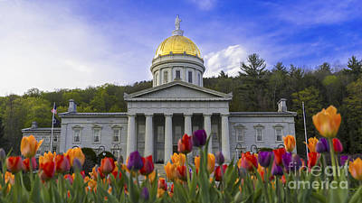 Photograph - Spring Flowers At The Statehouse by Scenic Vermont Photography