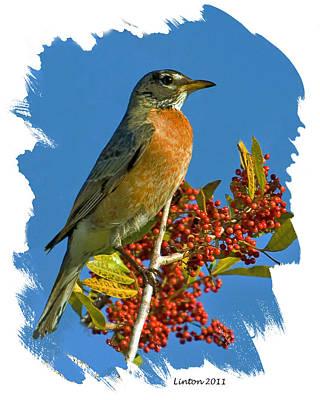 Robin Digital Art - Spring Robin II by Larry Linton