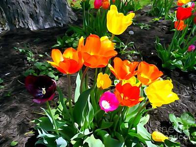 Digital Art - Spring Tulips #2 by Ed Weidman