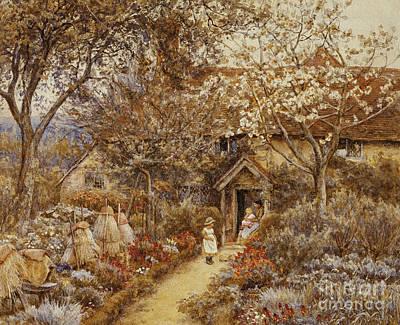 Little Girls In Garden Painting - Springtime by Helen Allingham