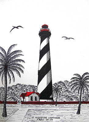 Pen And Ink Historic Buildings Drawings Drawing - St Augustine Lighthouse Christmas Card by Frederic Kohli