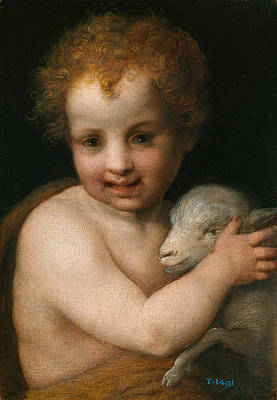 Baptist Painting - St. John The Baptist With The Lamb by Andrea del Sarto