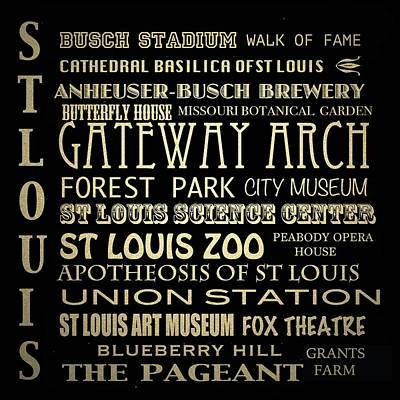 St. Louis Arch Wall Art - Digital Art - St Louis Missouri Famous Landmarks by Patricia Lintner