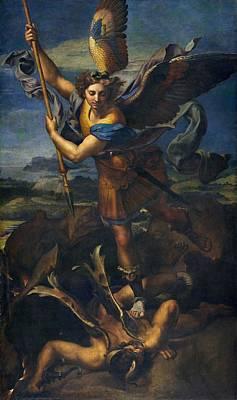 Raphael Archangel Painting - St. Michael Overwhelming The Demon by Raffaello Sanzio