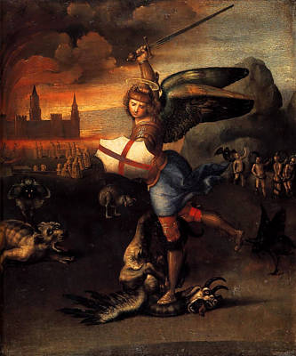 Raphael Archangel Painting - St. Michael by Raffaello Sanzio