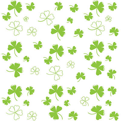 Digital Art - St. Patrick's Four Leaf Clover Background by Serena King
