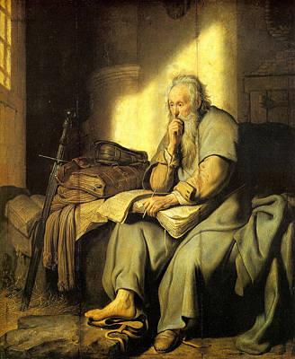 Netherlands Painting - St. Paul In Prison by Rembrandt van Rijn