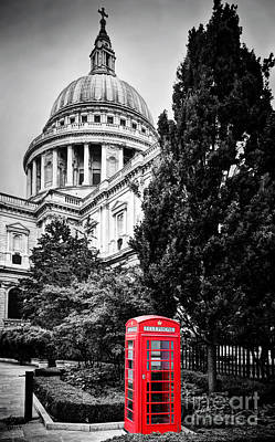 Dome Photograph - St Paul's Cathedral Dome And Red Telephone Booth. London, The Uk by Michal Bednarek
