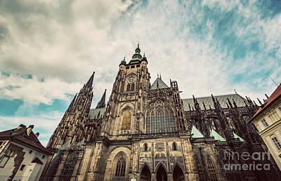 Castle Photograph - St. Vitus Cathedral, Prague, Czech Republic. Wide Angle. Vintage by Michal Bednarek