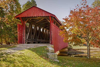 Photograph - Staats Mill Covered Bridge by Jack R Perry