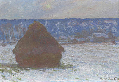 Stack Of Wheat Snow Effect, Overcast Day Art Print by Claude Monet