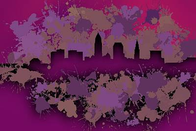 Stain Digital Art - Stain Cleveland Skyline.2 by Alberto RuiZ
