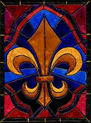 Stained Glass Fleur De Lis Art Print by Elaine Hodges