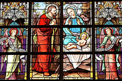 Photograph - Stained Glass Nativity Scene by Munir Alawi