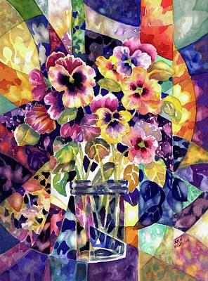 Painting - Stained Glass Pansies by Ann Nicholson